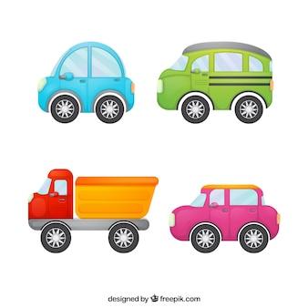 Vier auto's in kinderlijke stijl