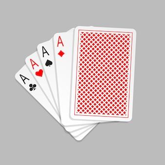 Vier azen in vijf kaarten pokerhand speelkaarten met rugontwerp. speelkaart geïsoleerd