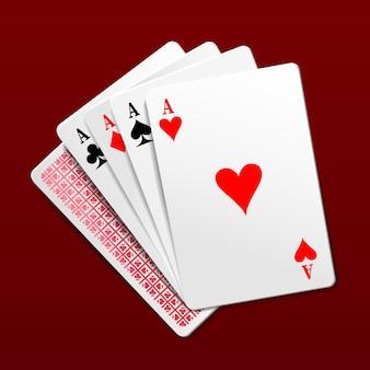 Vier azen speelkaarten.