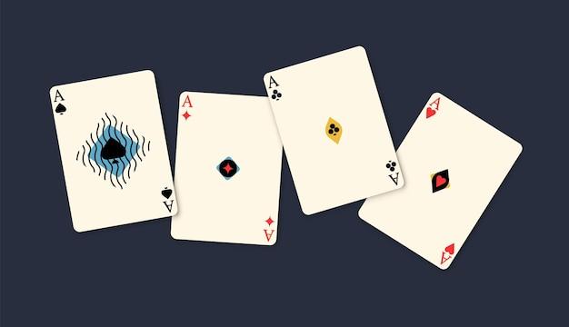 Vier azen winnende pokerhand geïsoleerd op zwarte achtergrond. speelkaart spel combinatie aas van verschillende strepen redactionele platte vectorillustratie. gokken winnaar kans four of a kind compound.