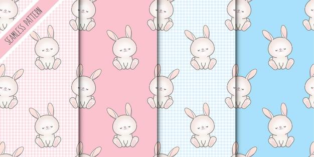 Vier baby konijntjes naadloze patronen instellen