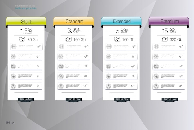 Vier banner voor de tarieven en prijslijsten. webelementen. hosting plannen. voor web-app. prijstabel, banner, lijst.