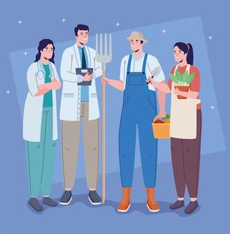 Vier beroepen werknemers karakters