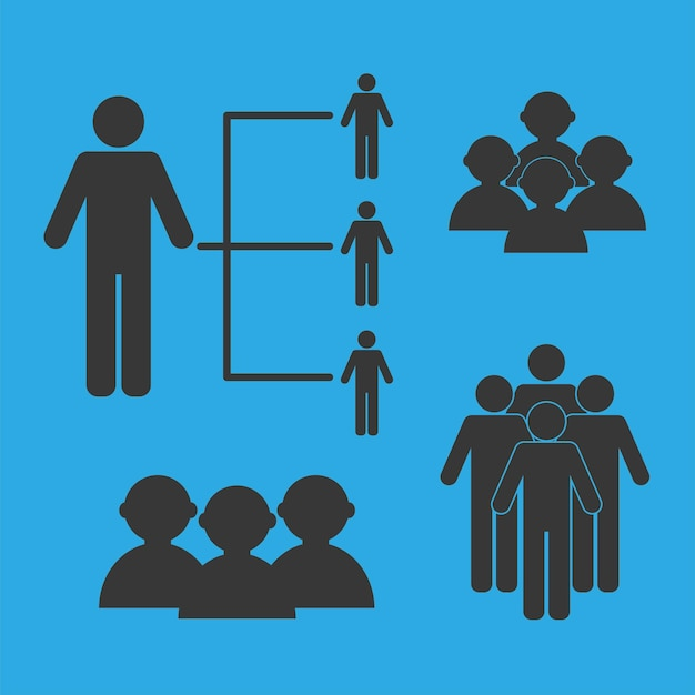 Vier bevolkingssilhouetten pictogrammen