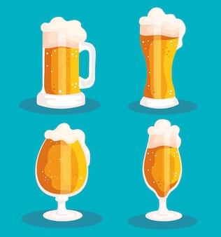 Vier bieren iconen