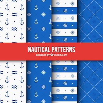 Vier blauwe nautische patronen