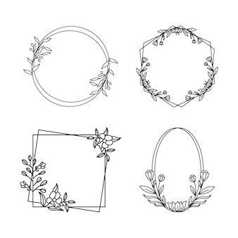 Vier bloemen geometrische frames