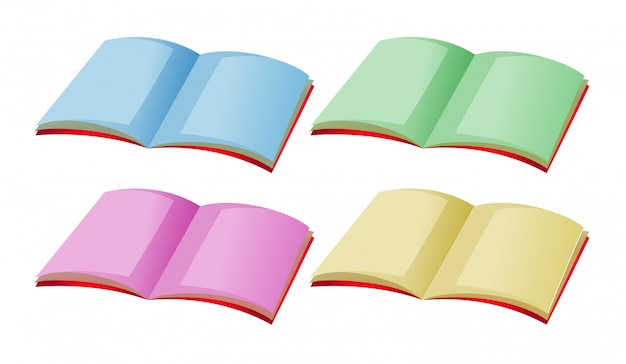 Vier boeken met verschillende kleurenpagina's