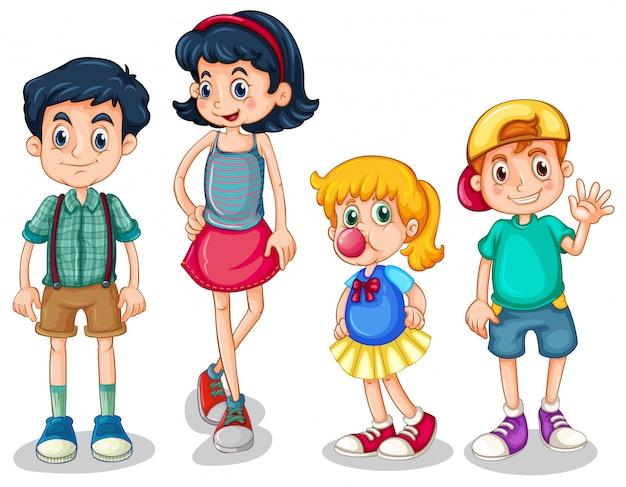Vier broers en zussen