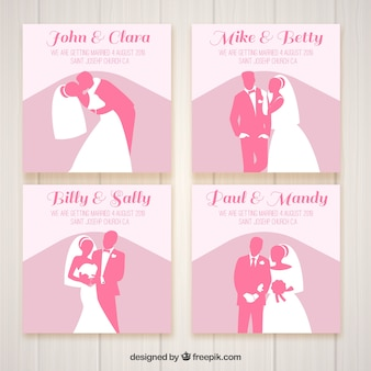 Vier bruiloftuitnodigingen met roze silhouetten