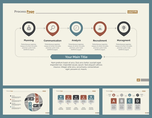 Vier business slide templates set