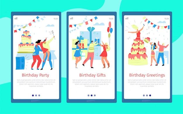 Vier cartoonbanner, mensen die bij de vastgestelde illustratie van het verjaardagsfeestje begroeten. vakantie feest met ballon decoratie. gelukkig vent met feestelijke taart en cadeau op mobiele website.