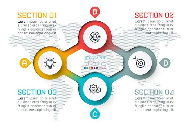 Vier cirkels met zakelijke pictogram infographics