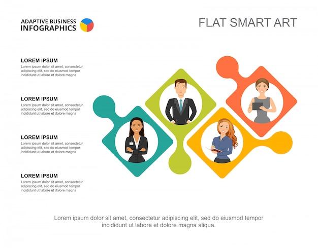 Vier collega's verwerken grafieksjabloon voor presentatie. visualisatie van bedrijfsgegevens.