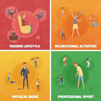 Vier composities met actieve lifestyle-afbeeldingen van menselijke personages