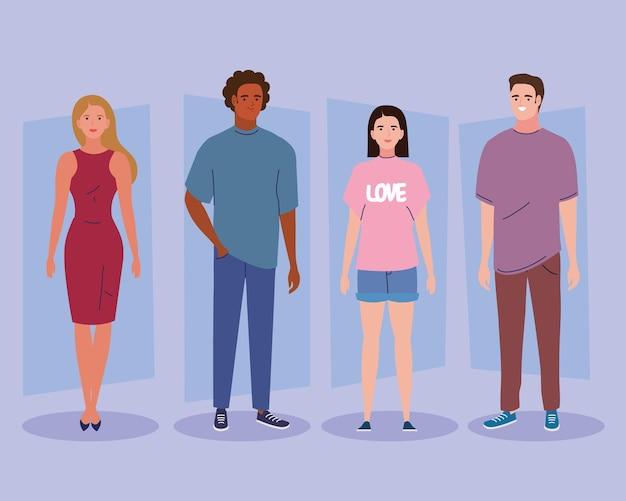 Vier diversiteitspersonen karakters
