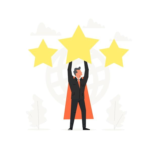 Vier een superzakenman en houd de grote ster boven zijn hoofd.