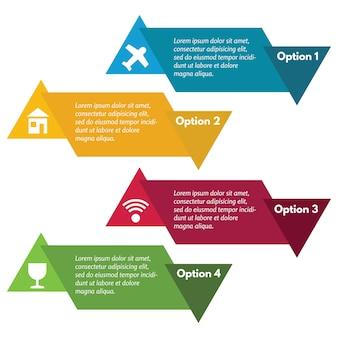 Vier elementen van infographic design met pictogrammen. stap voor stap infographic ontwerpsjabloon. vector illustratie