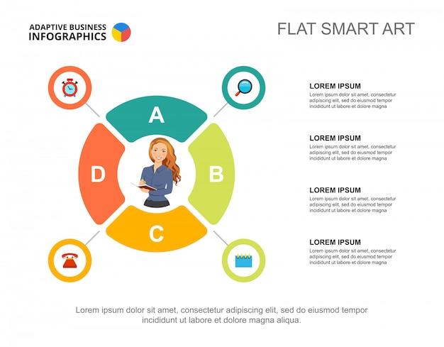 Vier elementen verwerken grafieksjabloon voor presentatie. bedrijfsgegevens. diagram, grafisch.