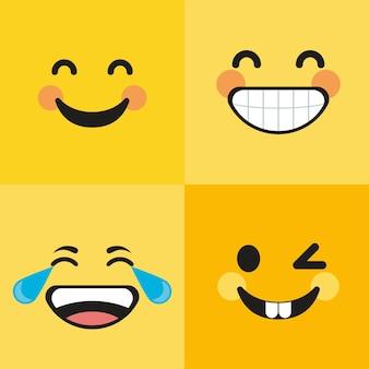 Vier emoticons lachend