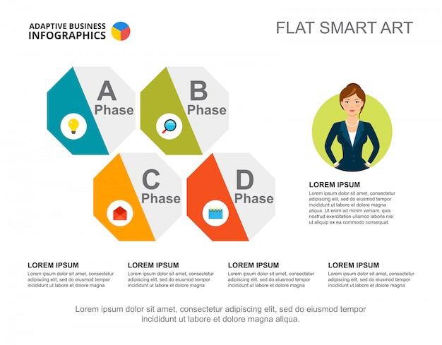 Vier fasen proces grafieksjabloon voor presentatie