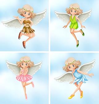 Vier feeën met witte vleugels