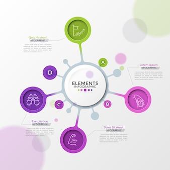 Vier felgekleurde bubbels met dunne lijnpictogrammen binnenin verbonden met het witte ronde hoofdelement. concept van 4 kenmerken van een opstartproject. moderne infographic ontwerpsjabloon. vector illustratie.
