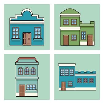 Vier festa junina-gebouwen