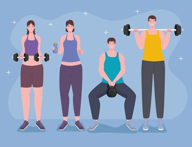 Vier fitnessatleten