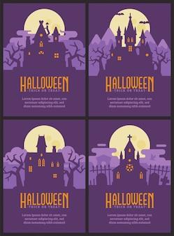 Vier flyers met halloween-huizen