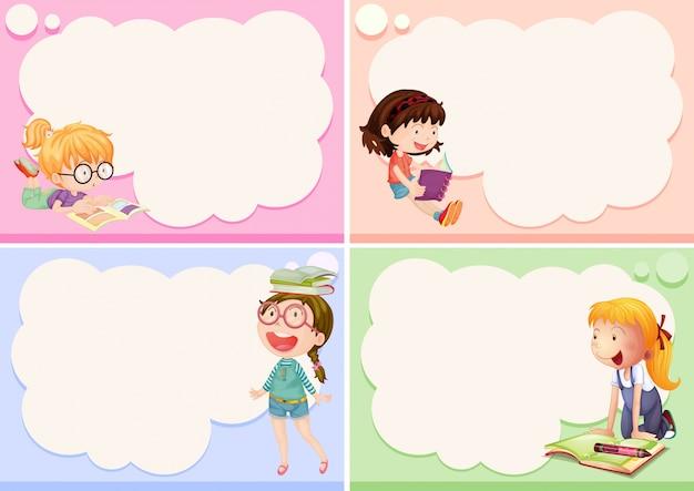 Vier frames met gelukkige meisjes