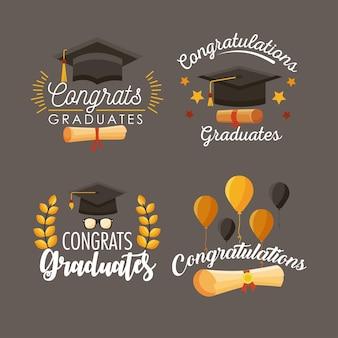 Vier gefeliciteerd afgestudeerden pictogrammen