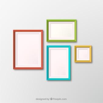 Vier gekleurde fotoframes