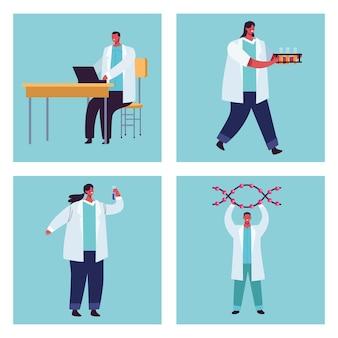 Vier genetisch testpersoneel
