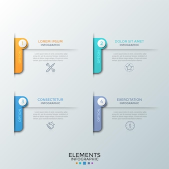 Vier genummerde elementen met dunne lijnsymbolen, plaats voor kop en tekst of beschrijving. concept van 4 kenmerken van startup-projectontwikkeling. infographic ontwerpsjabloon. vector illustratie.