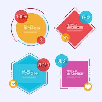 Vier geometrische etiket sjablonen