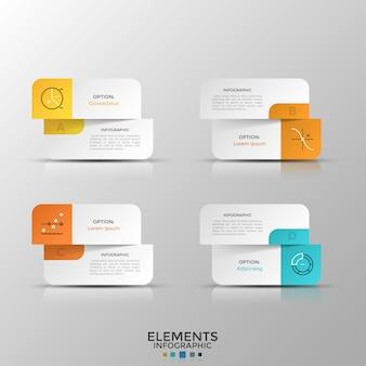 Vier gesplitste papieren witte kaarten met lineaire symbolen en plaats voor tekst of beschrijving. concept van vergelijking of keuze tussen 4 opties. realistische infographic ontwerplay-out. vector illustratie.