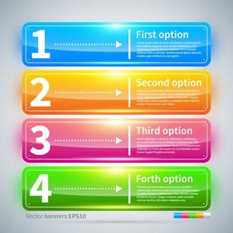 Vier glanzende kleurrijke banners met opties
