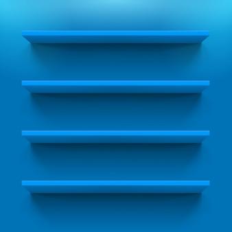 Vier gorizontale blauwe boekenplanken op de blauwe muur