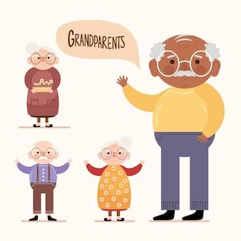 Vier grootouders karakters