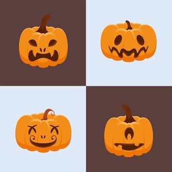 Vier halloween decoratieve pompoenen