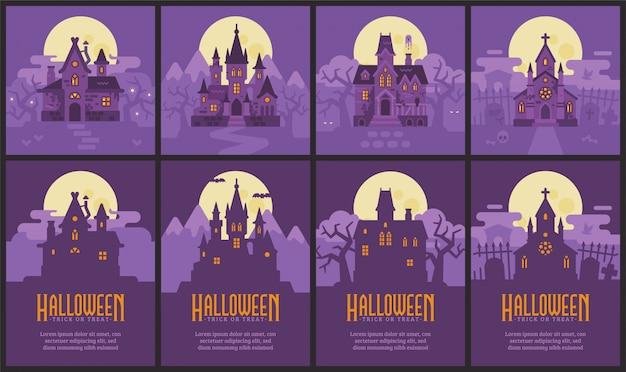 Vier halloween-huizen en flyers. heksenhut, vampire castle, haunted house en graveyard chapel