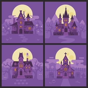 Vier halloween-huizen