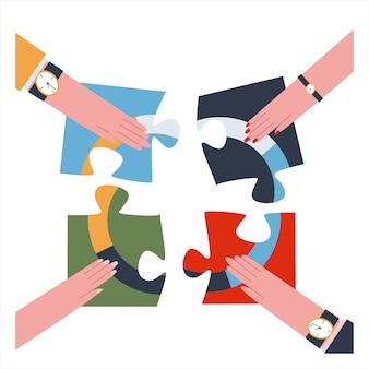 Vier handen assembleren puzzelstukjes op een witte achtergrond teamwork concept platte vector