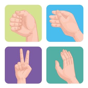 Vier handen mensen decorontwerp symbolen pictogrammen
