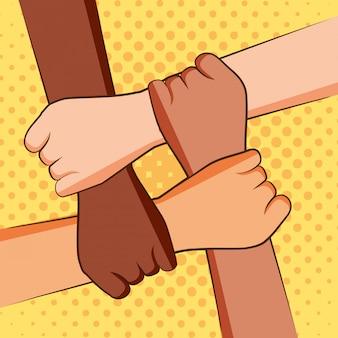 Vier handen met elkaar