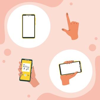 Vier handen met smartphones