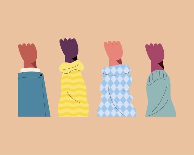 Vier handen omhoog van verschillende races