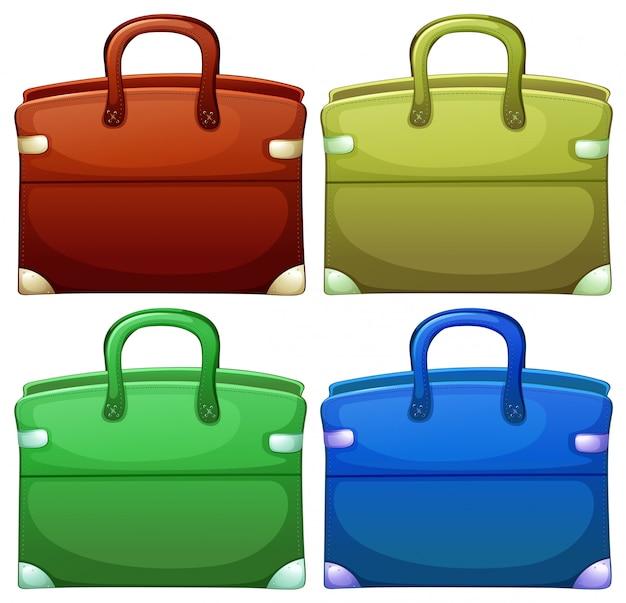 Vier handtassen