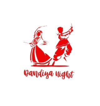 Vier het navratri-festival met dansende garba-mannen ontwerpen vector, handgetekende vectorillustratie.